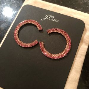 J Crew pink pave crystal earrings new & never worn